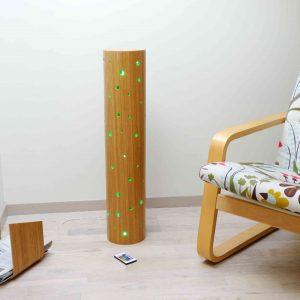 lampe cylindre bois chêne