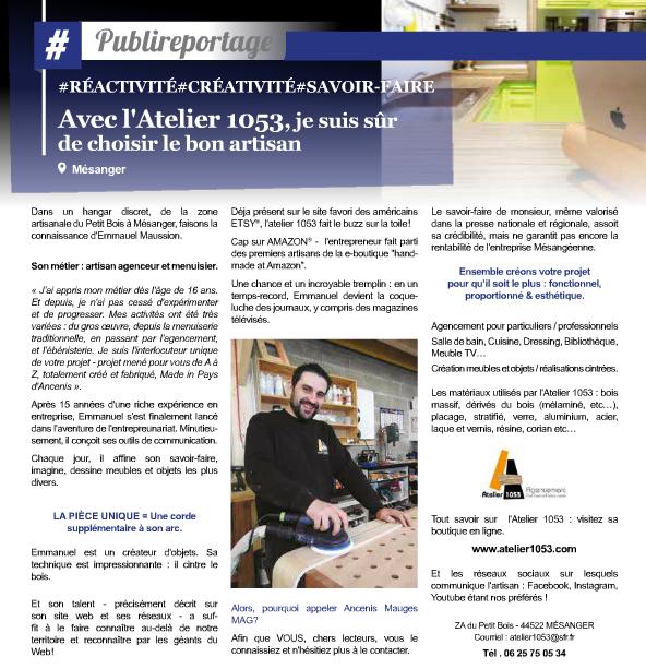 Publireportage Atelier 1053 sur Le Mag by Ancenis-Mauges