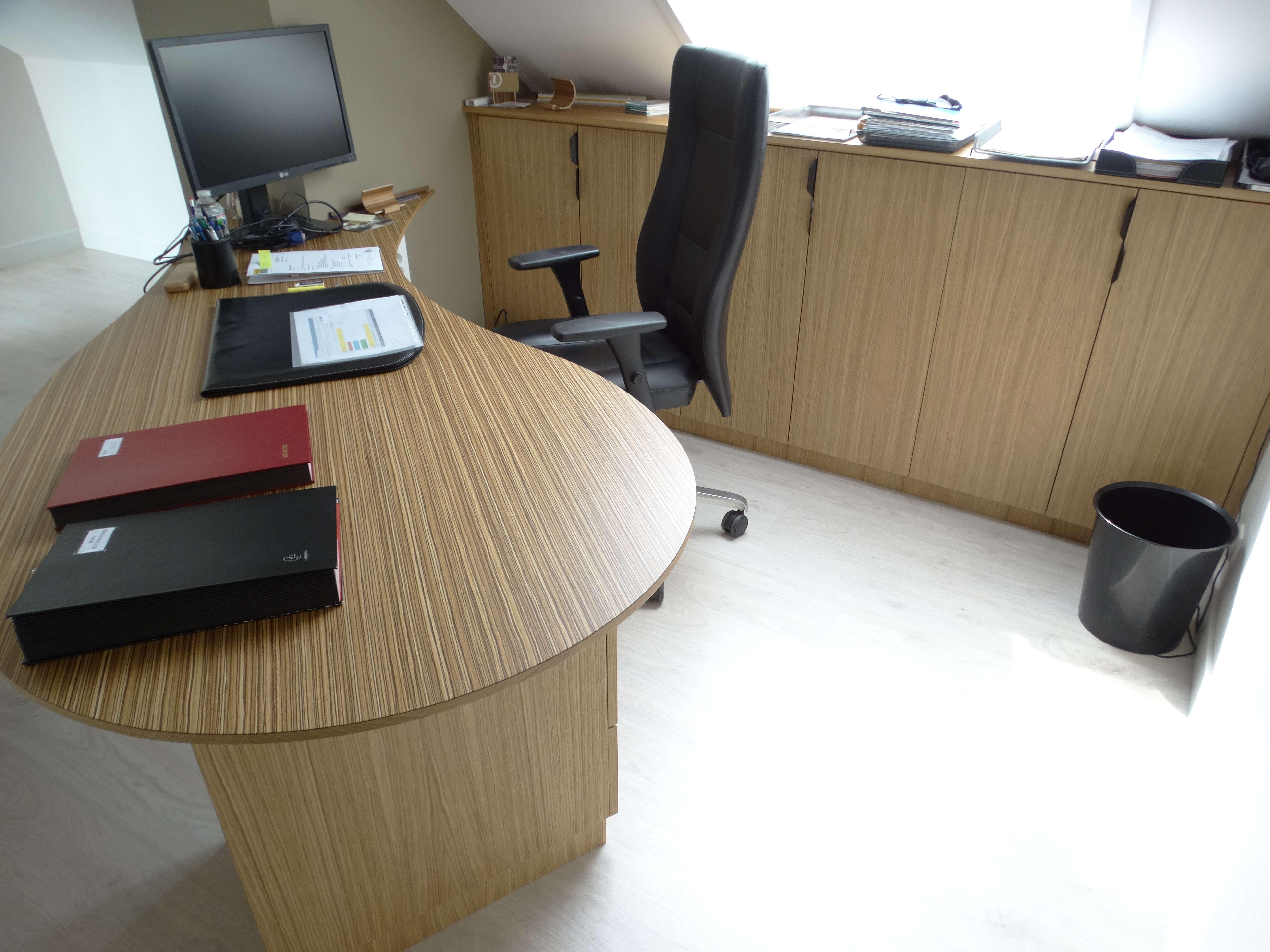 Bureau sur mesure maire original chene zebrano - Bureau original mairie en bois zebrano et chêne