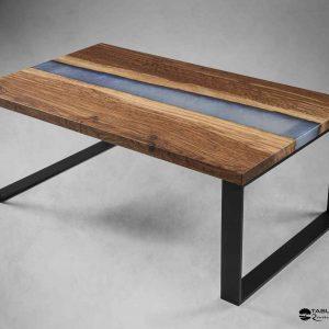 table basse bois et resine bleu clair epoxy