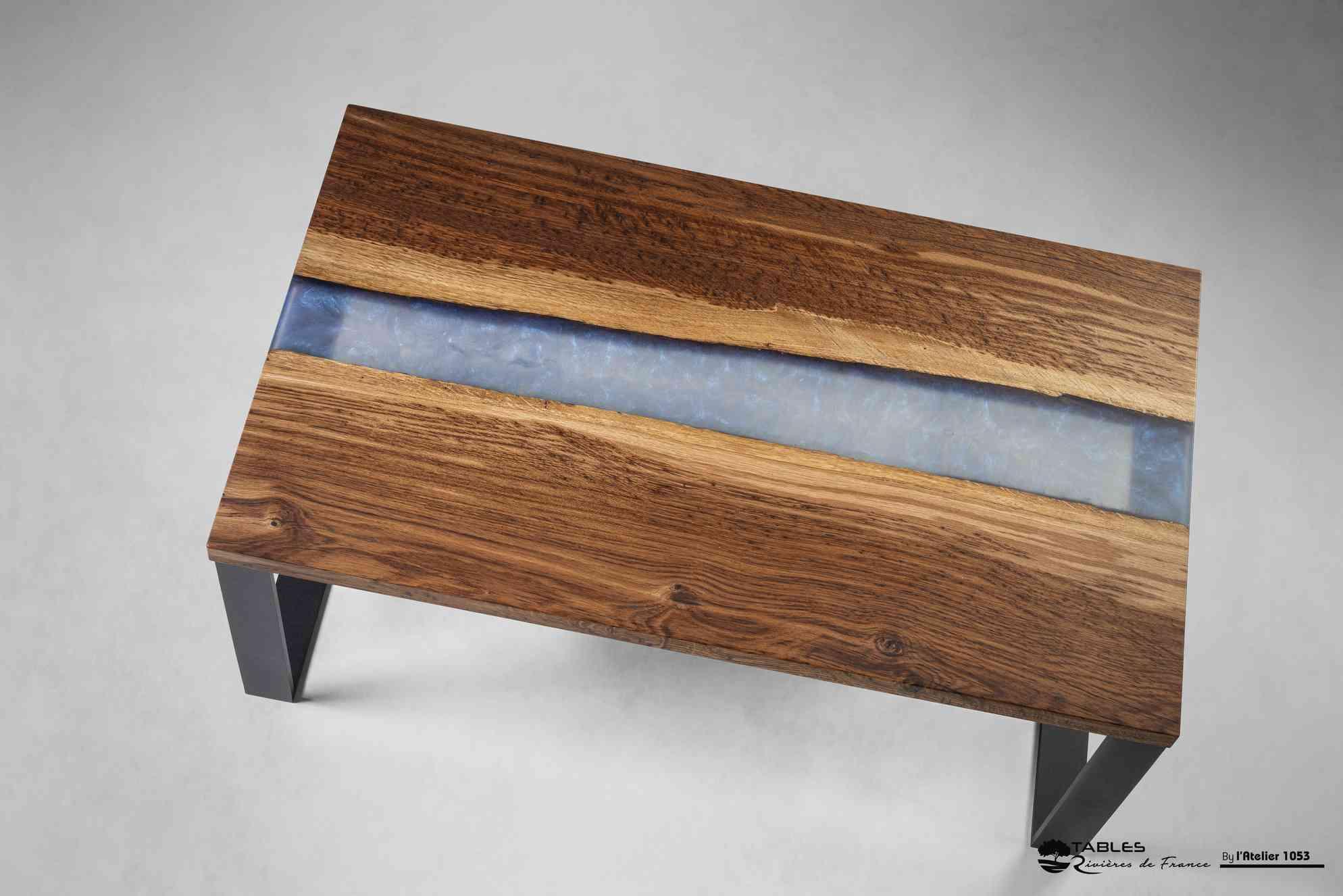 plateau table basse chene rouge resine epoxy