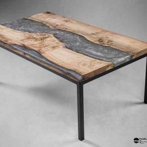 Table basse la Vienne bois et résine grise