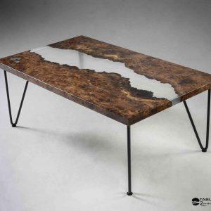 Table basse résine bois fluorescente
