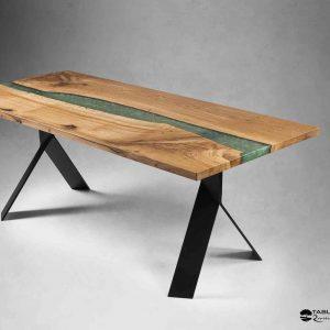 Table de réception L'OUDON chêne et resine epoxy MARGARITA