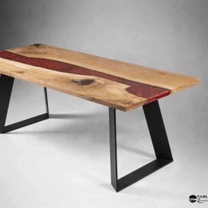 LA VARENNE table de réception bois et résine rouge