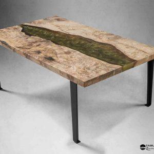Table basse LE CHER bois d'Orme et résine BANANA