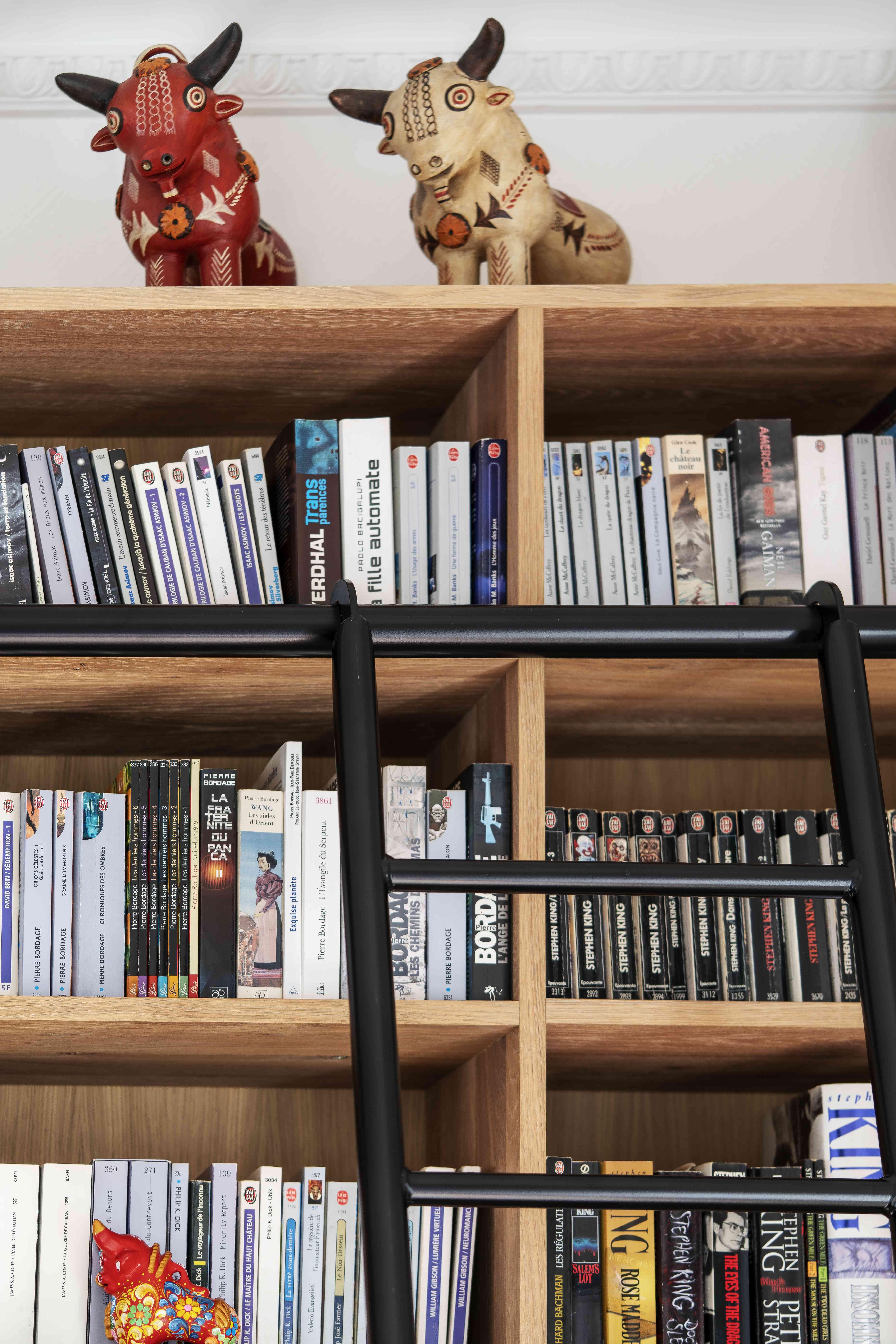 4 Bibliothèque sur mesure chêne brossé avec échelle métallique sur rail 6 - Bibliothèque sur mesure chêne brossé avec échelle métallique sur rail