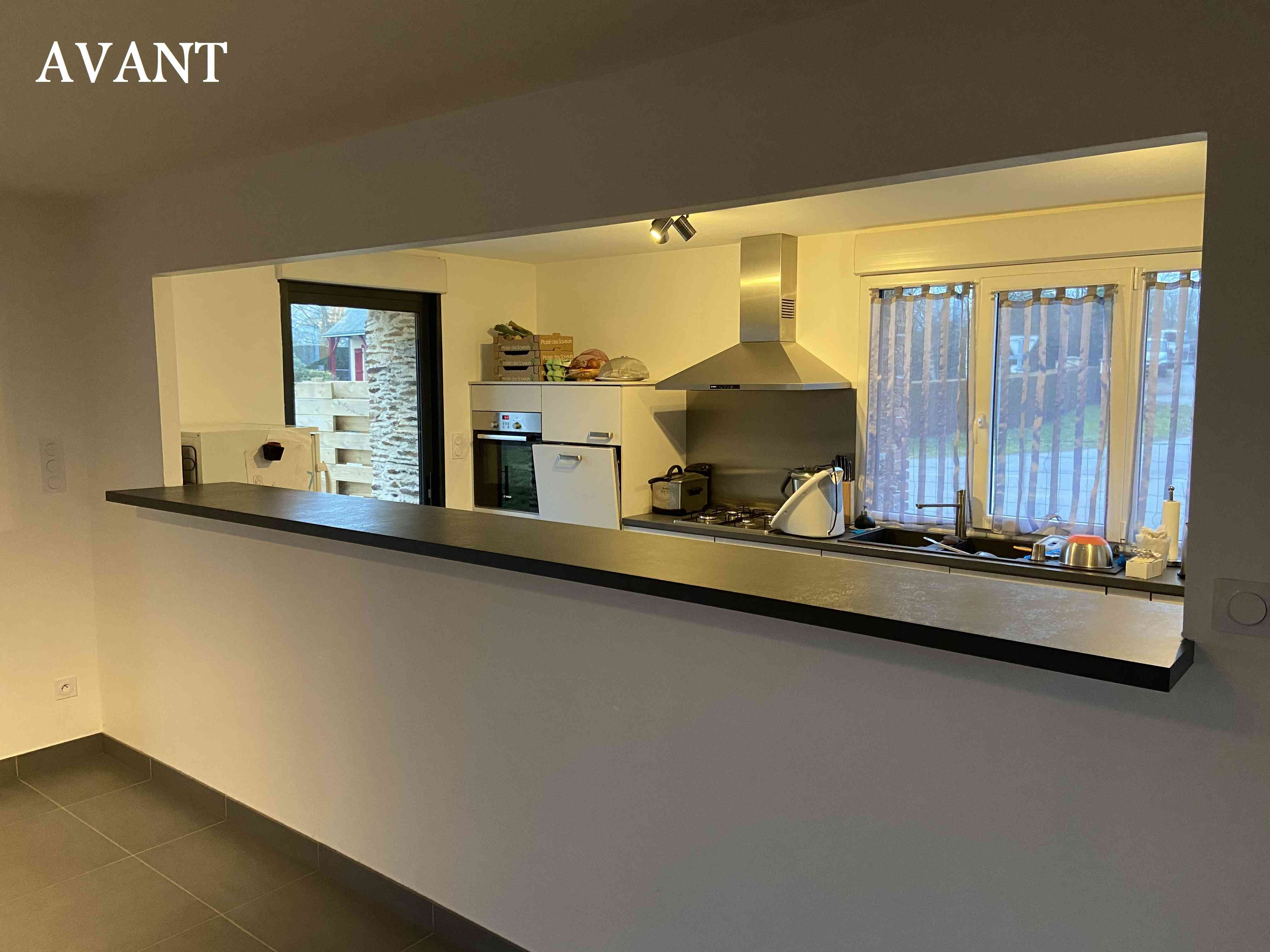 IMG 0609 - Verrière coulissante en chêne entre cuisine et séjour