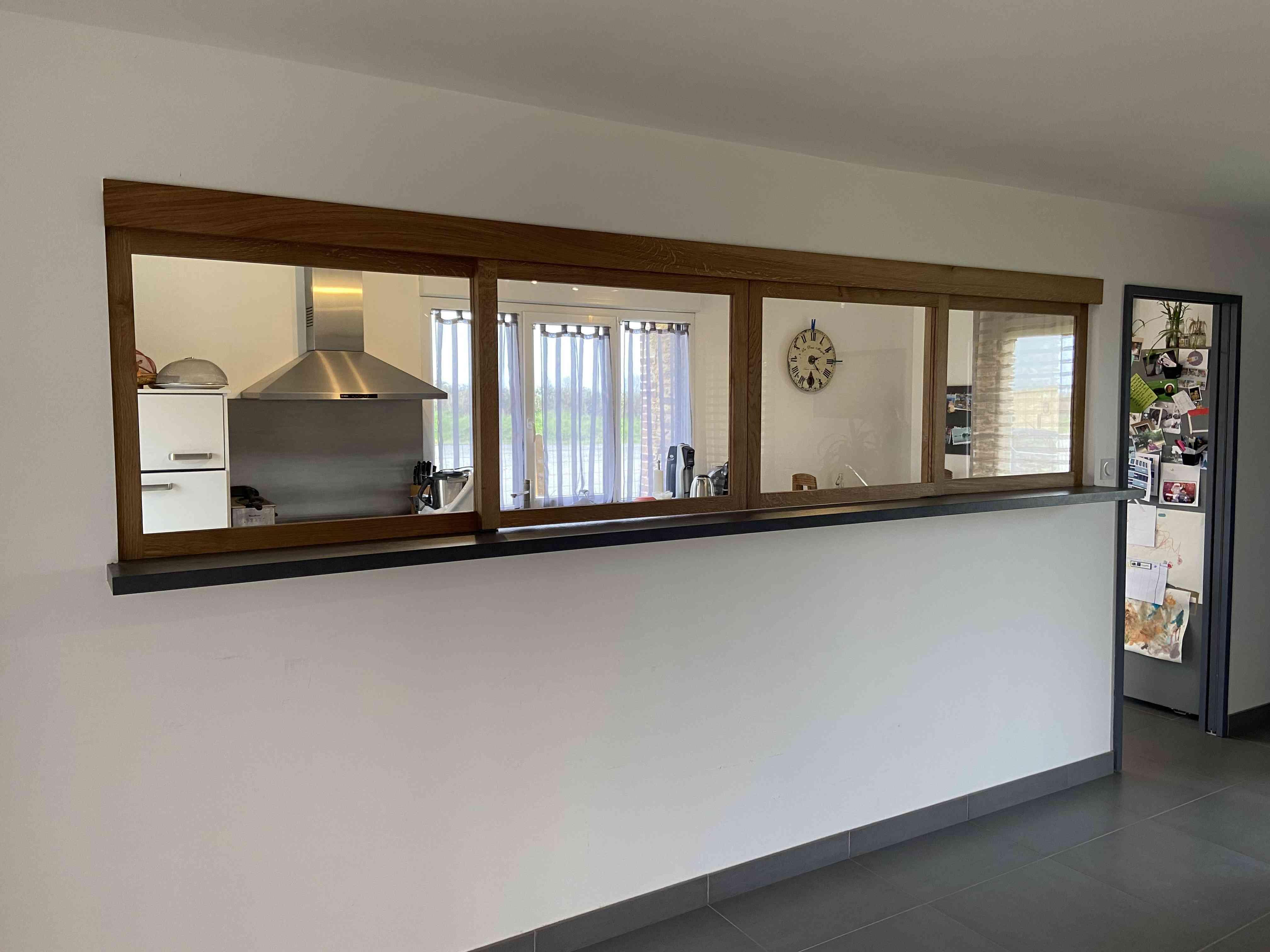 IMG 0611 - Verrière coulissante en chêne entre cuisine et séjour