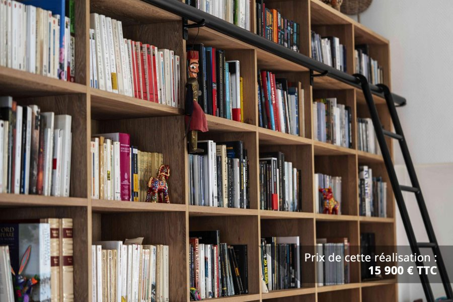 bibliotheque sur mesure chene brosse avec echelle metallique sur rail img 2 e1608045671515 - Bibliothèque sur mesure chêne brossé avec échelle métallique sur rail