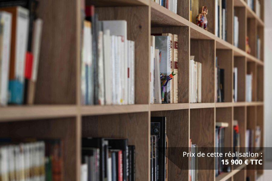 bibliotheque sur mesure chene brosse avec echelle metallique sur rail img 3 e1608045680659 - Bibliothèque sur mesure chêne brossé avec échelle métallique sur rail