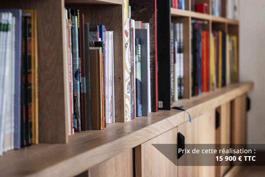 bibliotheque sur mesure chene brosse avec echelle metallique sur rail img 4 e1608045687616 - Bibliothèque sur mesure chêne brossé avec échelle métallique sur rail