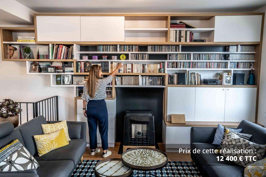 bibliotheque sur mesure salon bois blanc noir img 1 e1608045522126 - Bibliothèque sur mesure salon bois blanc noir