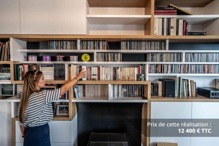 bibliotheque sur mesure salon bois blanc noir img 2 e1608045537279 - Bibliothèque sur mesure salon bois blanc noir