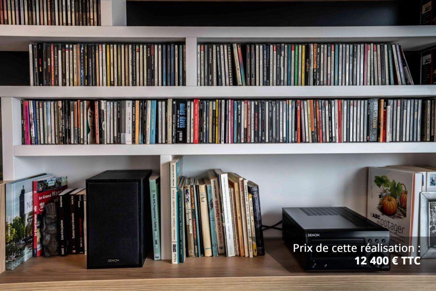 bibliotheque sur mesure salon bois blanc noir img 3 e1608045547995 - Bibliothèque sur mesure salon bois blanc noir