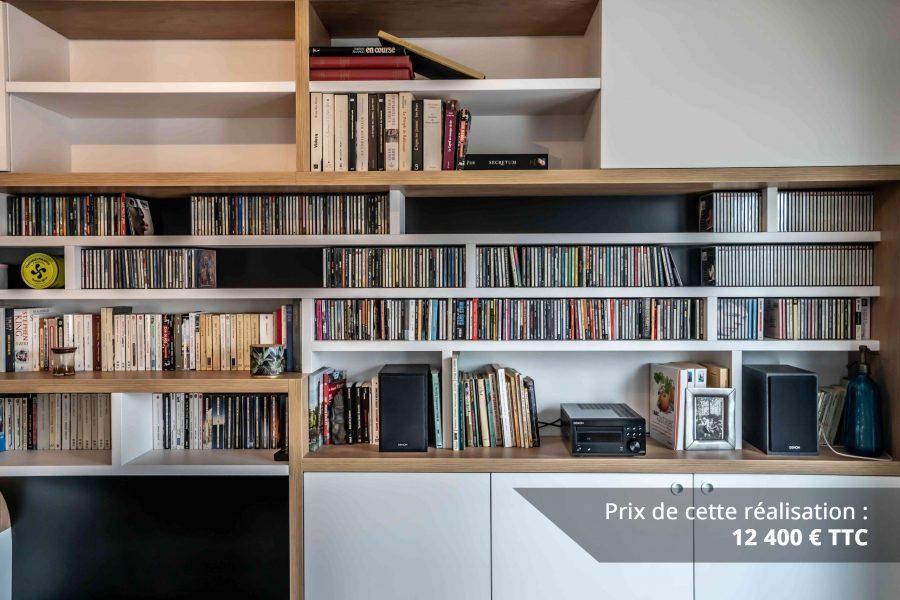 bibliotheque sur mesure salon bois blanc noir img 4 e1608045556130 - Bibliothèque sur mesure salon bois blanc noir