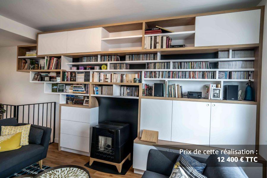 bibliotheque sur mesure salon bois blanc noir img 5 e1608045567683 - Bibliothèque sur mesure salon bois blanc noir