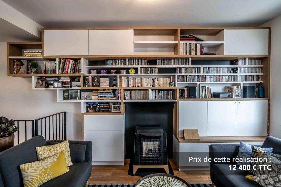 bibliotheque sur mesure salon bois blanc noir img 6 e1608045581878 - Bibliothèque sur mesure salon bois blanc noir