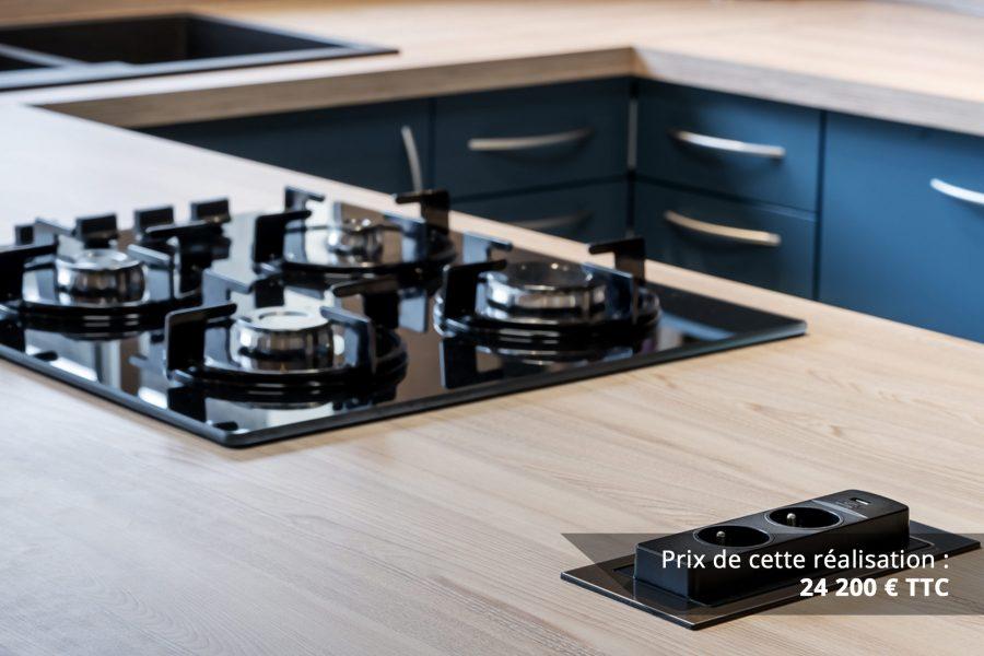 cuisine bleu petrole et frene avec plan de travail arrondi img 3 e1608045911802 - Cuisine Bleu pétrole et Frêne avec plan de travail arrondi