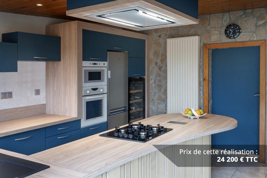 cuisine bleu petrole et frene avec plan de travail arrondi img 4 e1608045921242 - Cuisine Bleu pétrole et Frêne avec plan de travail arrondi