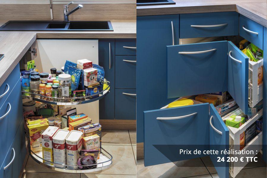 cuisine bleu petrole et frene avec plan de travail arrondi img 6 e1608045938136 - Cuisine Bleu pétrole et Frêne avec plan de travail arrondi
