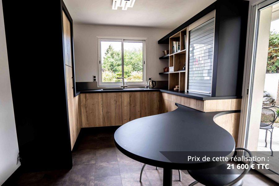 cuisine noir et chene avec table de repas arrondie img 1 e1608045955283 - Cuisine noir et chêne avec table de repas arrondie