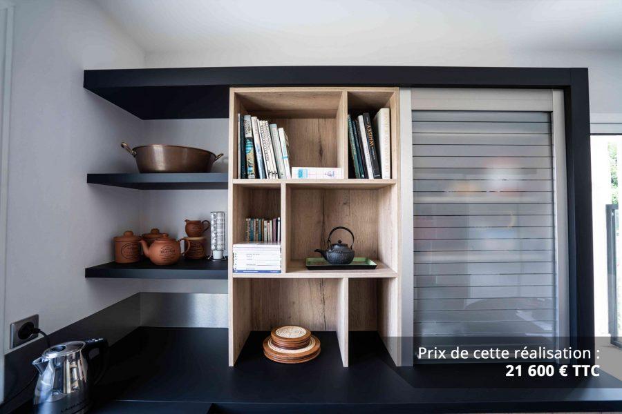 cuisine noir et chene avec table de repas arrondie img 3 e1608045977378 - Cuisine noir et chêne avec table de repas arrondie