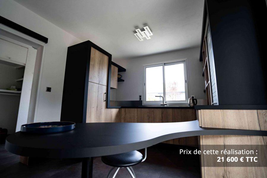 cuisine noir et chene avec table de repas arrondie img 6 e1608046001706 - Cuisine noir et chêne avec table de repas arrondie