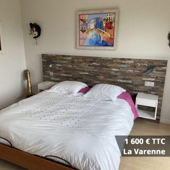 1600 la varenne - Tête de lit laqué éclairage LED & rangement penderie