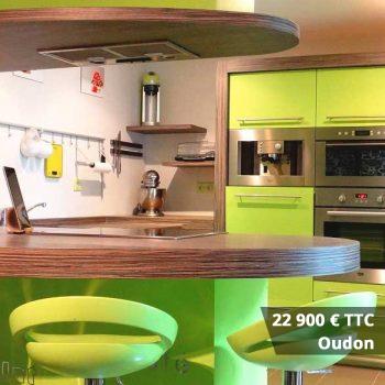 22900 oudon - Cuisine bleu pétrole et plan de travail décors bois