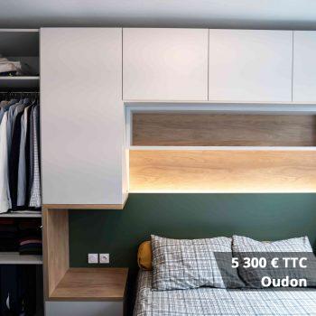 5300 oudon - Lit escamotable avec aménagement bibliothèque et coin bureau