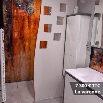 7300 La varenne - Meuble vasque et colonne bois avec façades courbées