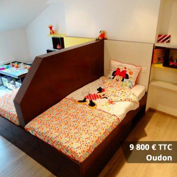 9800 Oudon - Tête de lit laqué éclairage LED & rangement penderie