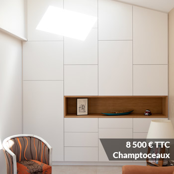 CHAMPTOCEAUX 8500 - Meuble sous escalier décors gris et bois