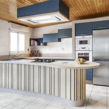 CUISINE 1 370x370 - Cuisine bleu pétrole et plan de travail décors bois