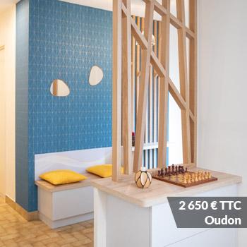 OUDON 2650 - Aménagement espace d'entrée dressing avec rangement et claustra bois de séparation