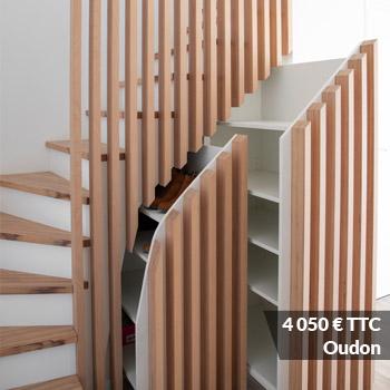 OUDON 4050 - Meuble sous escalier décors gris et bois