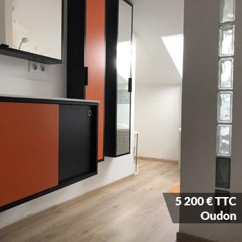 OUDON 5200 - Meuble vasque et colonne bois avec façades courbées