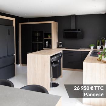 PANNECE 26950 - Cuisine rouge courbée et plan de travail décors bois arrondi