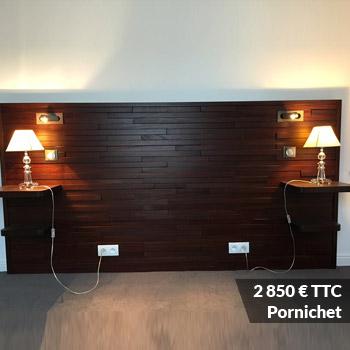 PORNICHET 2850 - Tête de lit laqué éclairage LED & rangement penderie