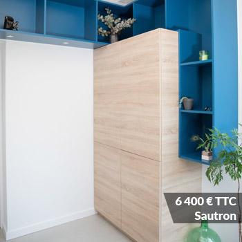 SAUTRON 6400 - Claustra en Chêne et meuble entrée avec niches