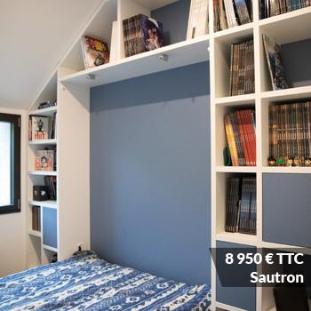 SAUTRON 8950 - Meuble sous escalier décors gris et bois
