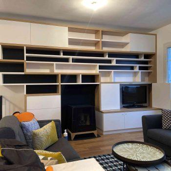 1 Bibliothèque sur mesure salon bois blanc noir (5)